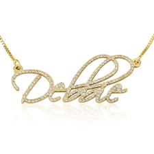 14K Yellow Gold Diamond Name Necklace