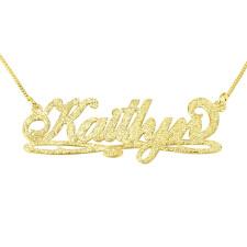 Sparkling 14k Gold Bianca Line Name Necklace