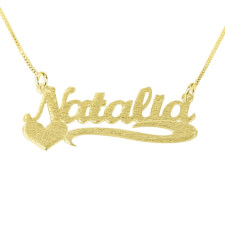 Brushed 14k Gold Name Necklace with Side Heart