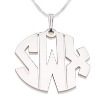 Sterling Silver Capital 3 Letters Monogram Necklace