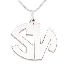 Sterling Silver Capital 2 Letters Monoram Necklace