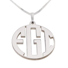 Sterling Silver Capital Border 3 Letters Monogram Necklace