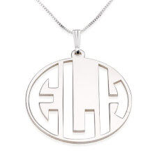 Sterling Silver Capital 3 Letters Negative Font Monogram Necklace