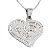 Sterling Silver Heart Pendant with Name