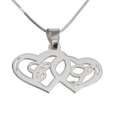 Sterling Silver Initials Necklace with Two Hearts