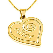 24k Gold Plated Heart Pendant with Name