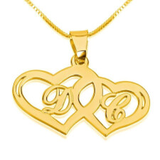 14k Gold Two Hearts with Initials