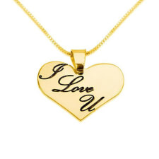 14k Gold Heart Necklace with I LOVE YOU Engraved On It