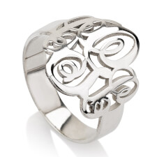 Sterling Silver Interlocking Three Initials Monogram Ring