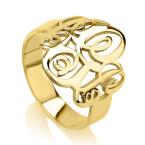24K Gold Plated Interlocking Three Initials Monogram Ring - Thumb