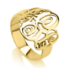 24K Gold Plated Interlocking Three Initials Monogram Ring