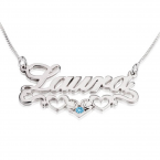 Sterling Silver Hearts  Name Necklace - Thumb