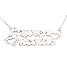 Sterling Silver Two Names Necklace with Hearts