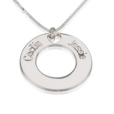 Sterling Silver Circle Necklace with Two Names