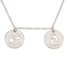 Sterling Silver Two Circle Necklace with Cut Out Names