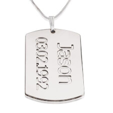 Sterling Silver Dog Tag Plate with Name and Date