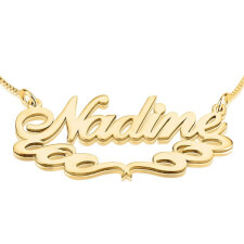 24K Gold Plated Special Curls Name Necklace