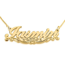 24K Gold Plated Unique Line Name Necklace