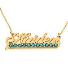 24K Gold Plated Color Name Necklace with Swarovski Crystal