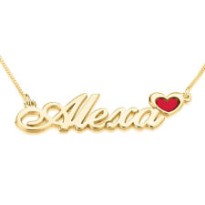 24K Gold Plated Color Name Necklace with Heart