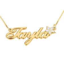 24K Gold Plated Color Name Necklace with Flower