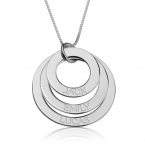 Sterling Silver Engraved Rings Mother Necklace - Thumb