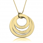 24K Gold Plated Engraved Rings Mother Necklace - Thumb