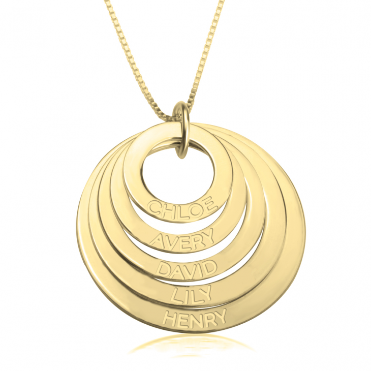 24K Gold Plated Engraved Rings Mother Necklace  - Picture 4