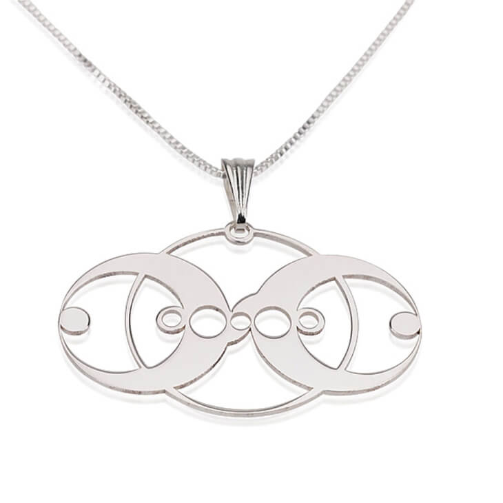 Sterling Silver Crop Circle 3 Circles Necklace