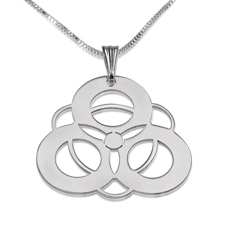 Sterling Silver Crop Circle 4 Circles Necklace