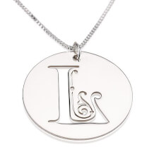 Sterling Silver Disk Initial Necklace