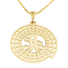 24K Gold Plated Crop Circle Initial Necklace