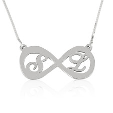 Sterling Silver Two Letters Infinity Necklace