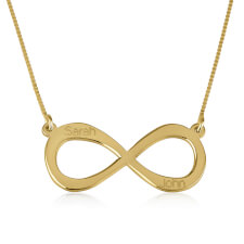24K Gold Plated Two Names Infinity Necklace