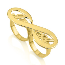 24K Gold Plated Two Initial Infinity Ring
