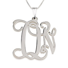 Sterling Silver Curly Two Initials Large - Small Monogram Necklace