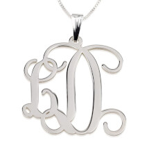 Sterling Silver Curly Two Initials Small-Large Monogram Necklace