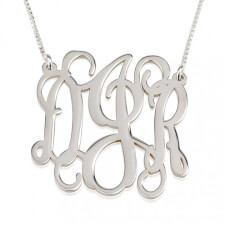 Sterling Silver Curly Split Chain Monogram Necklace