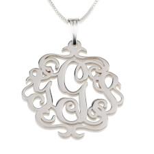 Sterling Silver Swirly Monogram Necklace