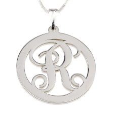 Sterling Silver Circle Initial Necklace