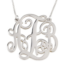 Sterling Silver Split Chain Monogram Necklace
