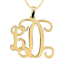 24K Gold Plated Curly Two Initials Large - Small Monogram Necklace