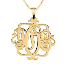 24K Gold Plated Swirly Monogram Necklace