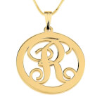 24K Gold Plated Circle Initial Necklace - Thumb