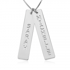 Sterling Silver Vertical Bar Necklace with Two Names