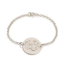 Sterling Silver Engraving Monogram Bracelet