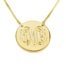 24K Gold Plated Medallion Monogram Necklace