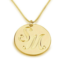 24k Gold Plated Medallion Initials Necklace