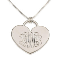 Sterling Silver Engraved Heart Monogram Necklace