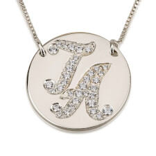 Sterling Silver Cubic Zirconia Medallion Initial Necklace